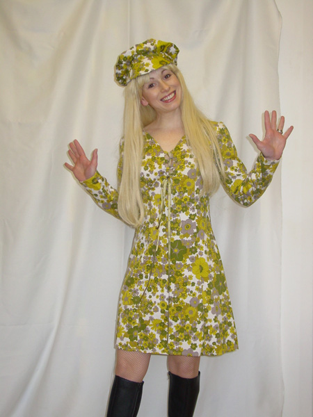 60's Green Floral mini dress with hat