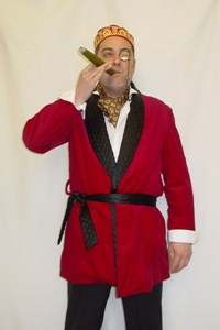 Red Smoking Jacket With Black Trim
