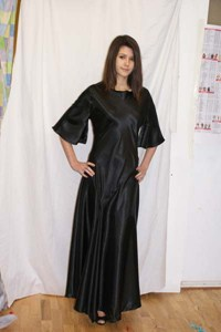 Black Satin Dress With Sleeves